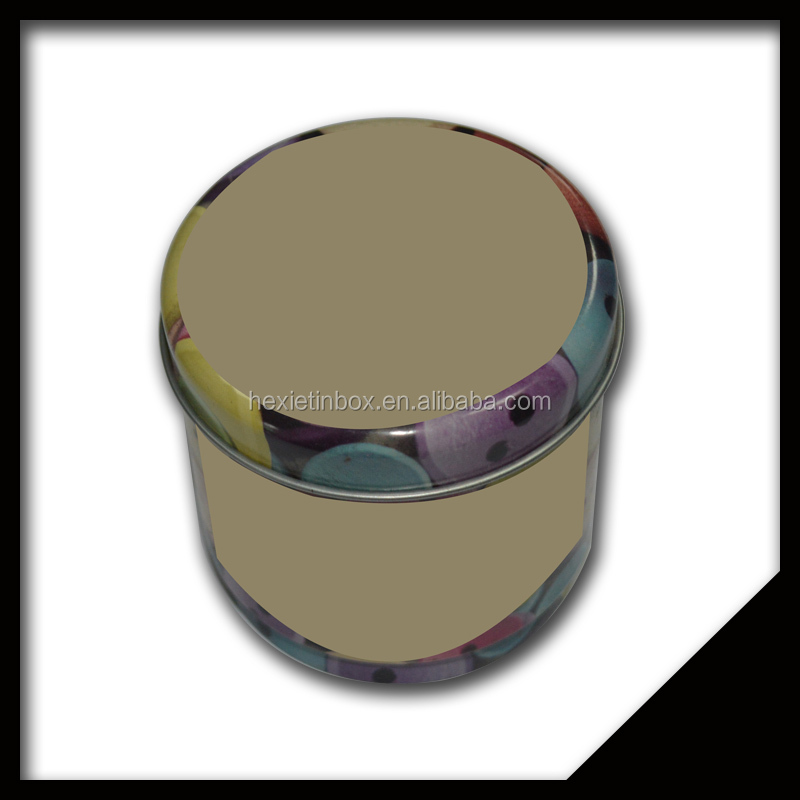 Cusomized Pretty Tinplate Round Button Storage Tin Box With Removeable Lid