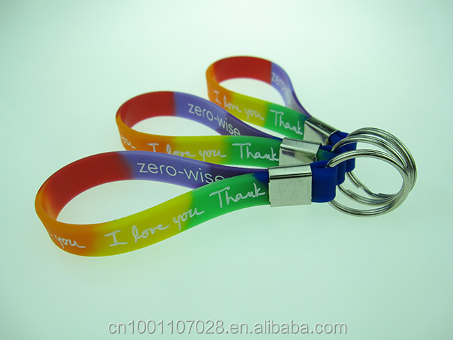 Custom Silicone Key chains rainbow color rubber keychain silicon wristband key chain for gifts