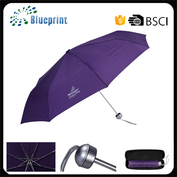 small bag size personalized logo 3 folding umbrella with logo