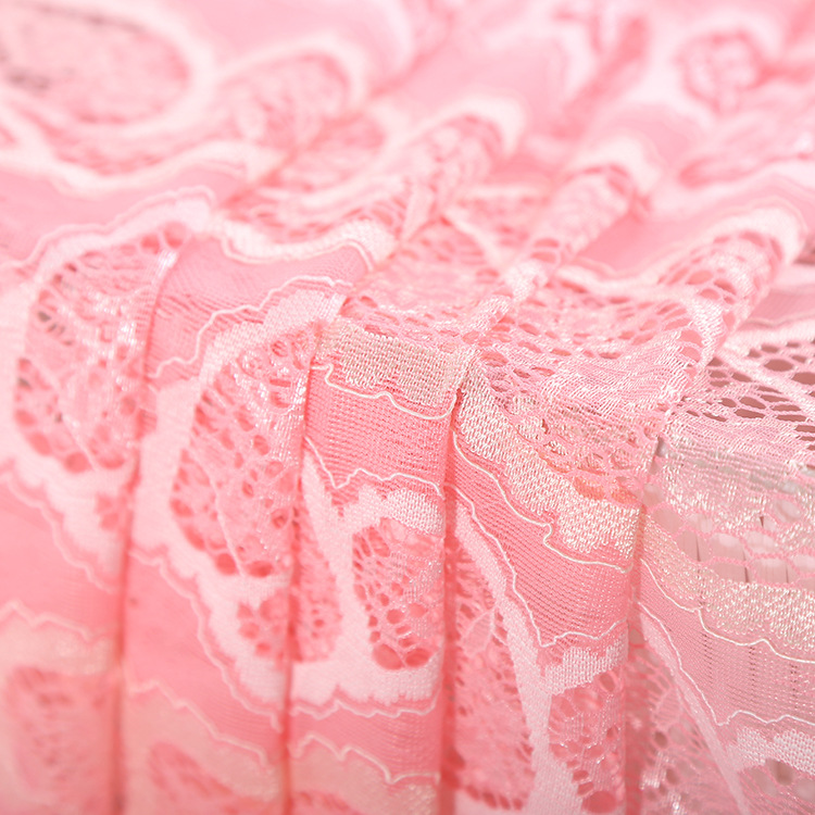 Good supplier Latest lovely design hand cut pink lace fabric