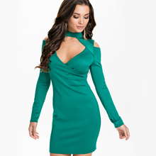 MS71101L Sexy ladies off shoulder v neck long sleeve pencil dress ladies western dress collection