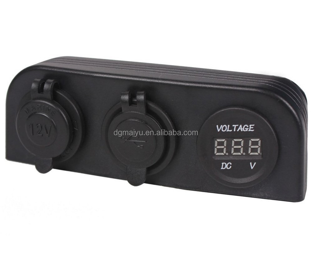 HOT! Car DC Digital Voltmeter/Dual USB 2 Port/DC12V Power Socket Three Hole Panel OEM with tent