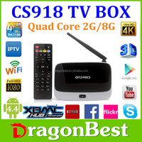 hd satellite receiver CS918 tv box Android 4.4 cs918 RK3188 Quad Core android tv box 4k decoding ,Octa GPU 2G 8G
