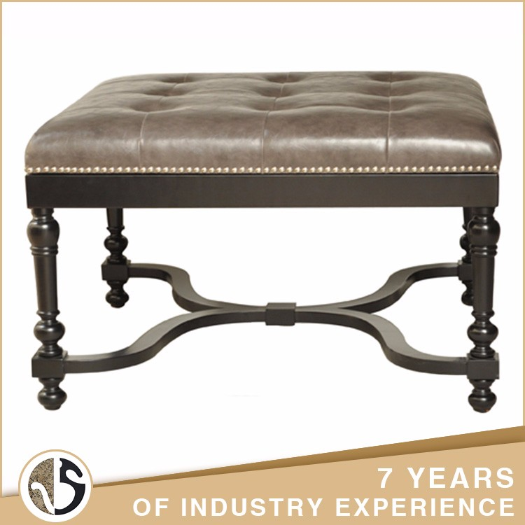 wood legs black finish leather single seat bench