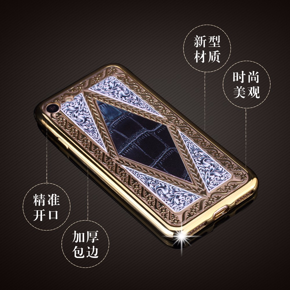 Luxury fashion jewelry Vintage Flower Pattern Phone Case Back Cover for iPhone 6