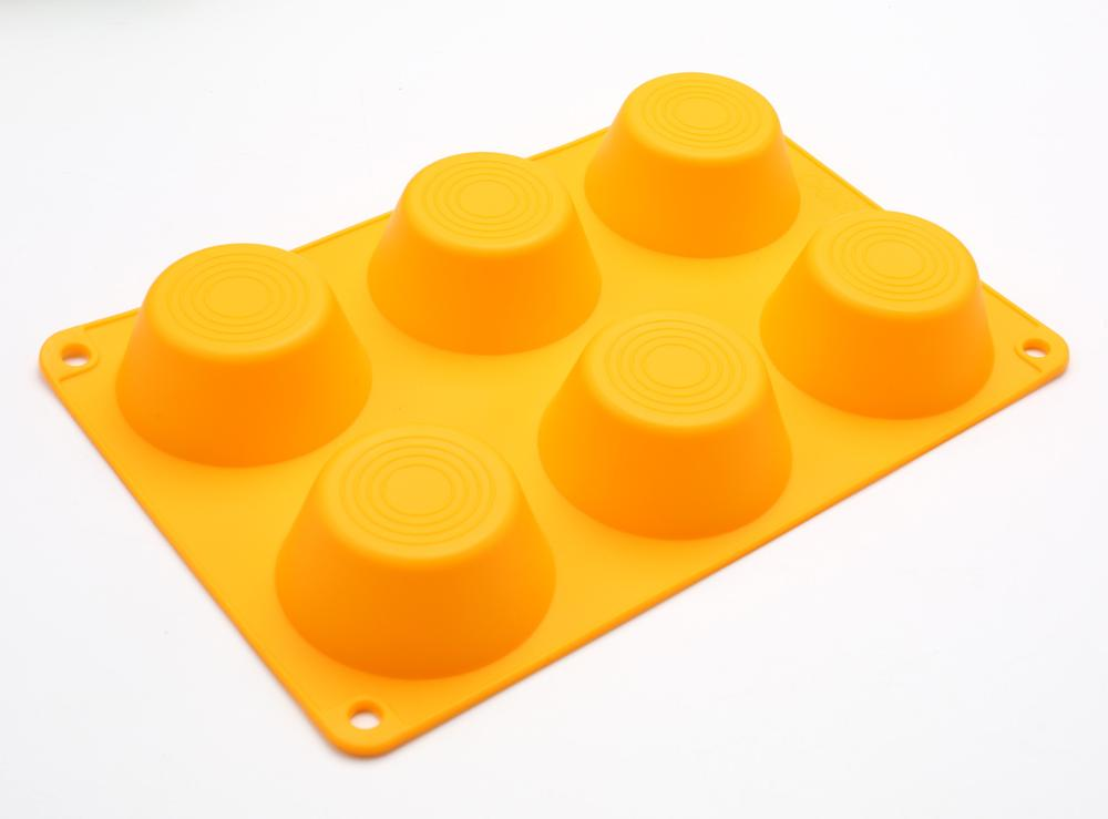 Bakeware Silicone Mini cake mold 6 Cups rubber Muffin Pan for promotion
