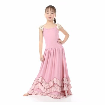 Hot sale in USA beautiful sleeveless dust pink girl jersey maxi dress