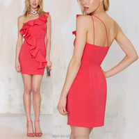 Oem clothes Custom design new one shoulder fashion polyester red crepe women ruffle dresses