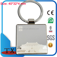 Premium souvenirs club company custom giveaways with laser logo square metal keychain