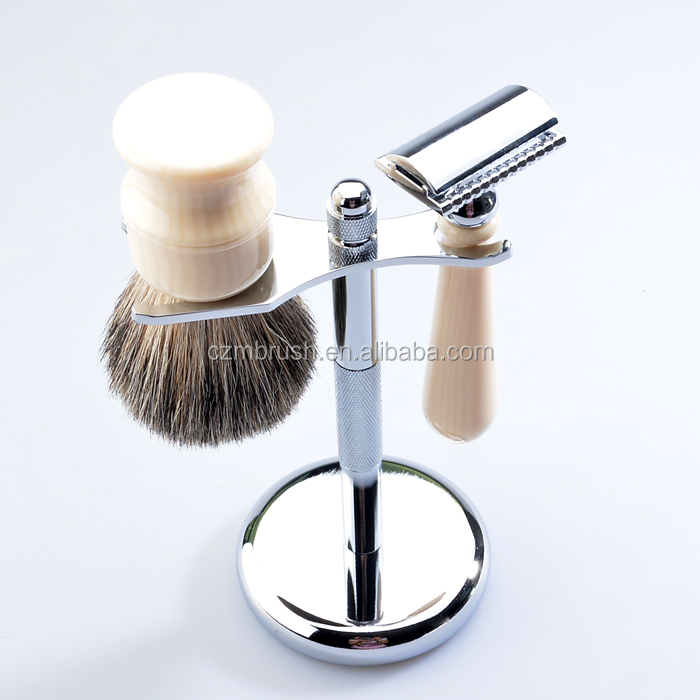 High quality shaving brush shave stand and double edge blade razor metal men shaving set for men shave