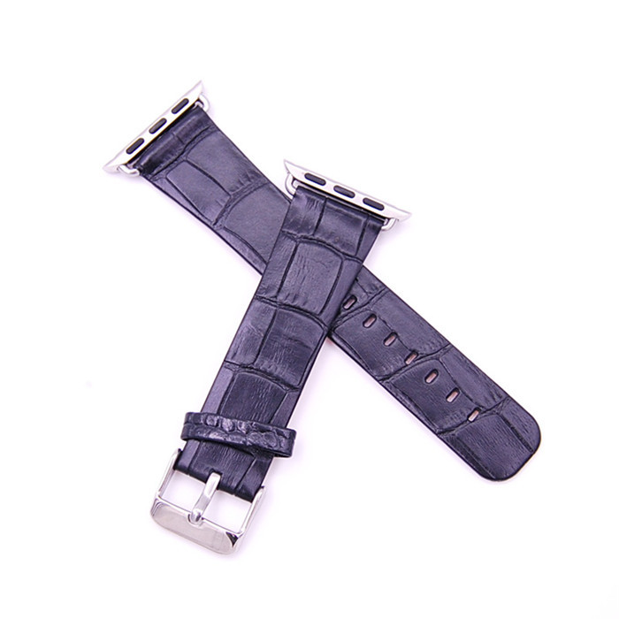 High Quality Embossed Crocodile Alligator for Apple Watch Leather Band OEM ODM_3