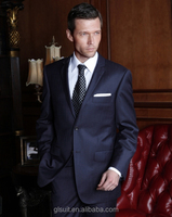 Slim fit 100%wool notch Lapel two buttons navy wedding jacket