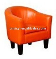 kid's orange pu leather wooden frame tub chair