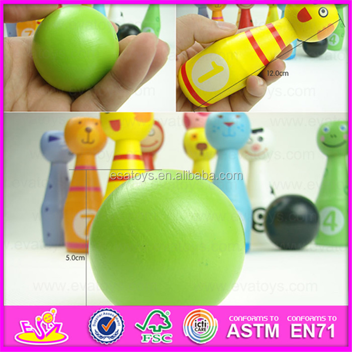 Top grade innovative wooden children toy mini bowling ball,Hot sale colorful 13PCS Wooden mini bowling toy W01A125