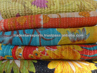 Red Kantha Quilt, Blanket, Bedspread, Bed Cover In Beautiful Design
