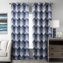 Printed Striped Curtain Blue Curtains for Living Room Blackout Window Curtain