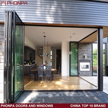 2016 PHONPA New style aluminum frame low e glass folding door and window price