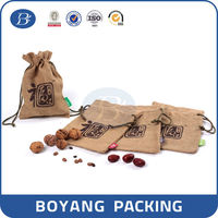 Eco-friendly small reusable jute coffee been bags with custom printed logo