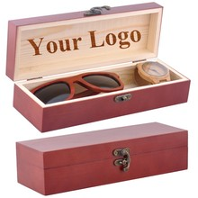 BZ006 Custom Logo Red Real Wood Box for Wooden Sunglasses & Watch
