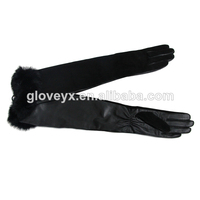 Women long leather gloves,Soft sheep skin and knit lining (F093)