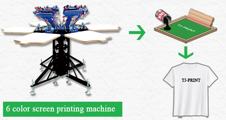 Manual 6 color 6 station t shirts screen printing machine