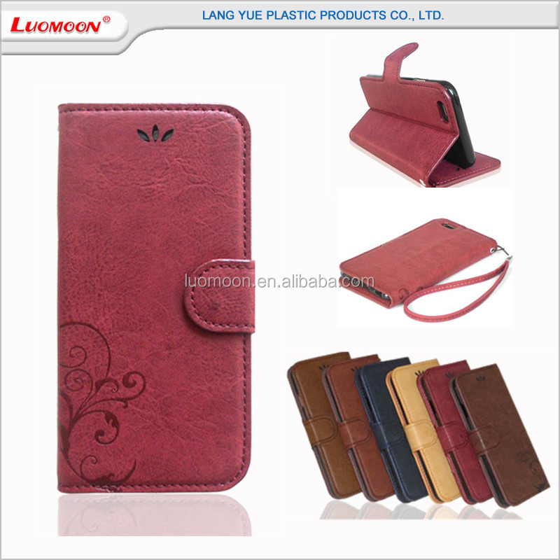 Vintage Style Crazy Horse Pattern Folder Magnet Bulk 6 Inch Mobile Cell Phone Leather Flip Case For lg Optimus g pro e988 g4