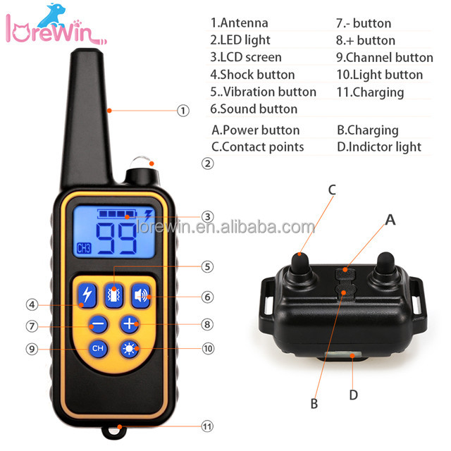 LoreWin LY-880 800M Rechargeable Waterproof Remote Dog Training Collar