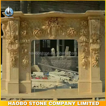 Wholesale Beige Marble Sculpture Fireplace