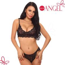 Wholesale fashionable fantasy full floral lace underwear bra thong women sexy lingerie set