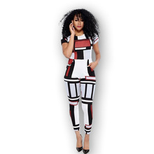 Amazon hot style European and American lady sexy cubes printed jumpsuits