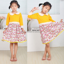 Latest Peter Pan Collar Dress Designs Children Girl Flower Printed Dress