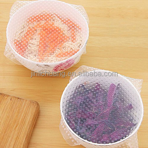Silicone Food Wrappers Eco-friendly Silicone Seal Cover Food Fresh-Keeping Preservative Film