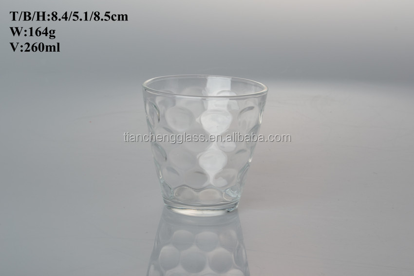 260ml glassware / wine table ware / clear glass cup for water tea drinking
