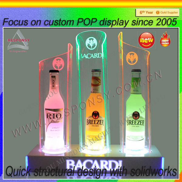 Cocktail led light acrylic bases for bar, acrylic display stand for bar