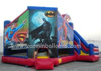Low price inflatable spiderman theme bouncy castle with water slide for kids Z1074