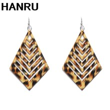 Women Fashion Jewelry Exaggerated Gold Color leopard print Wood drop Earring