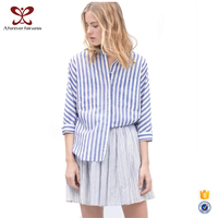 Europe America Women Blue Plaid Shirt, Women Casual Designs, Blouse Women Shirt Model, Latest Design 2016