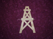 Hot sell Oil Well Shape Wood Cut Out Unfinished Wooden Derrick made in China