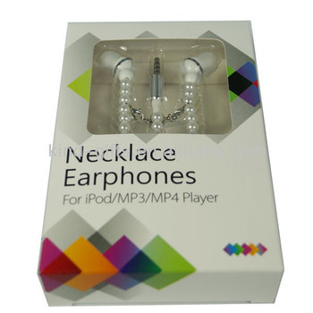Fashionable Jewelry Necklace With Quality Stereo Earphones And Microphone