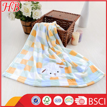 embroidered animal printed coral fleece knitted baby blanket