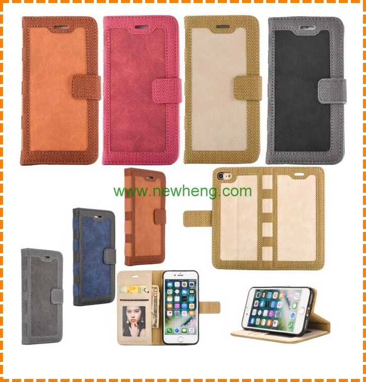 High quality book style leather wallet phone case for iphone 7 8 plus