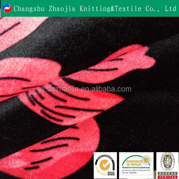 Zhaojia Manufacture Customized Designs 100 Polyester flower velour Printed Fabric for Upholstery