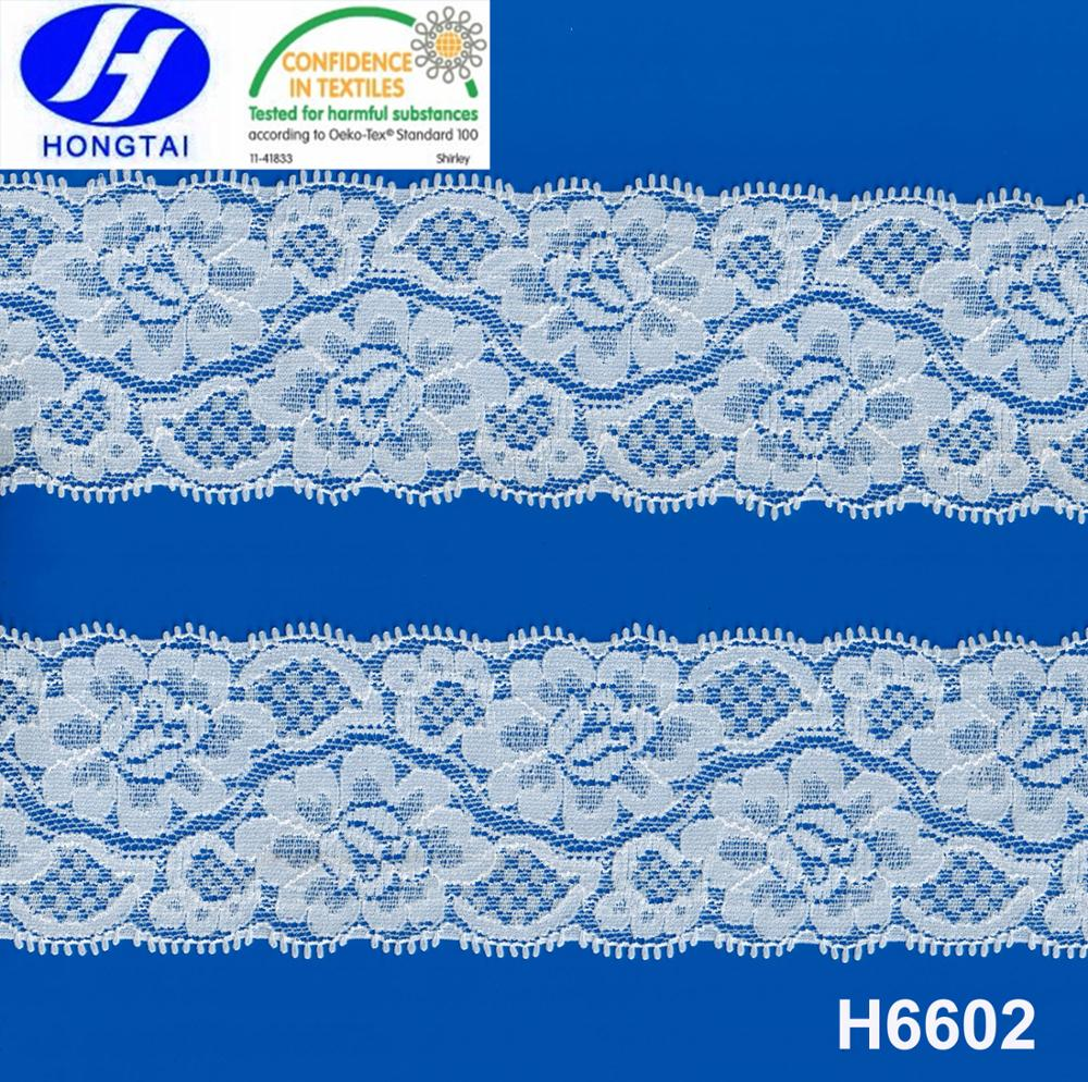 6 1/5'' Double Side Stretch Floral Style Picot Lace Trim for Decoration