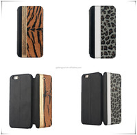Protective leopard pattern pu leather case for iphone 6 plus