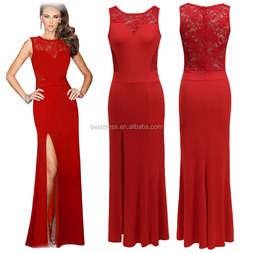2016 hot summer sleeveless cutout lace red front slit beautiful sexy pictures of girls without dress walson apparel