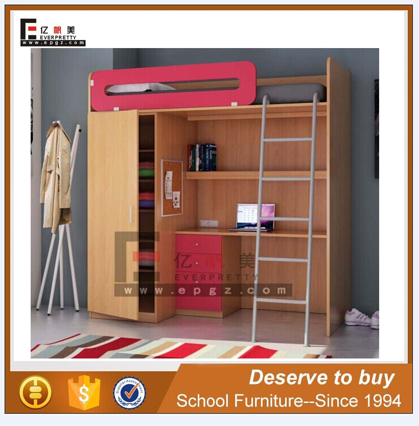 Adult Student Dormitory Multiple Functional Apartment Bed with Table