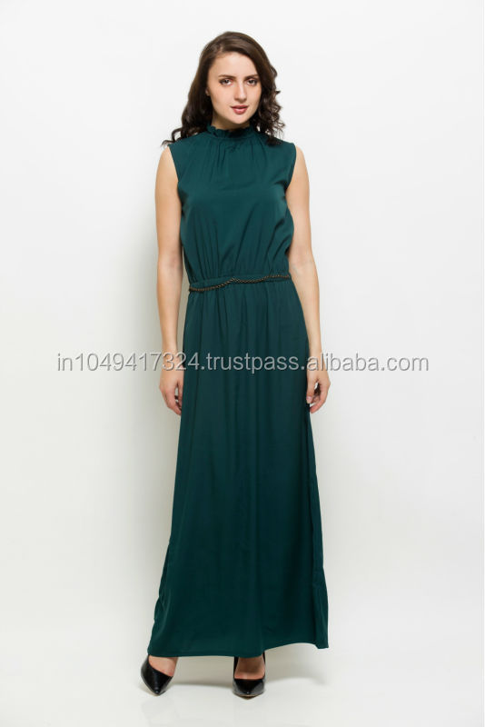 Women's Dark Green Maxi Dress,Ladies Ruffle Neck Long Maxi Dress,Formal long evening gown