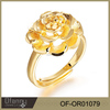 Latest flower shape 2 gram gold finger ring designs ring size adjustable design