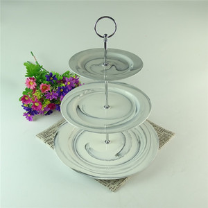 Bulk wholesale marble color round ceramic cup cake stand 3 tier wedding cake stand