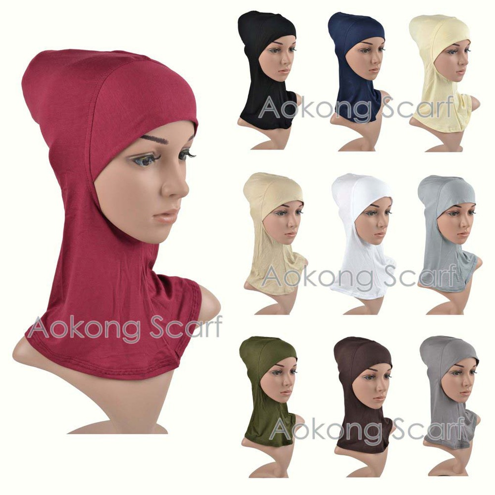 Full Cover Inner Muslim Cap Hijab Underscarf 100% Viscose Jersey Plain Soild Color Islamic Head Wear Hat Underscarf